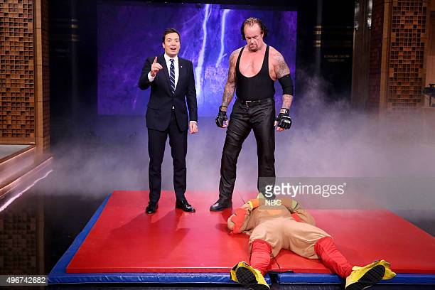 Host Jimmy Fallon and The Undertaker during the 'Suggestion Box' bit on November 11 2015