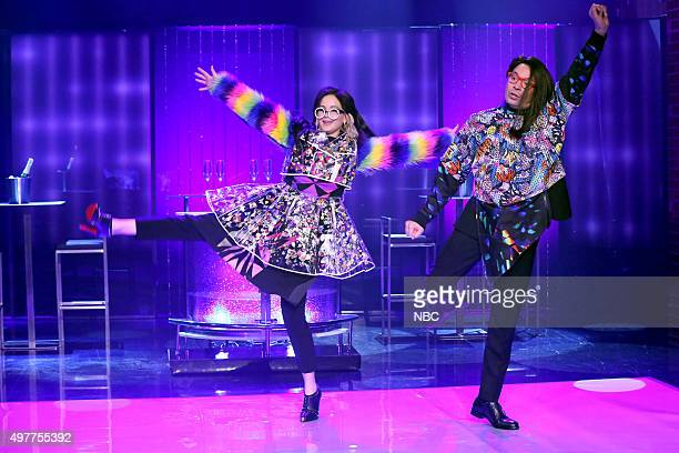 Actress Jennifer Lawrence and host Jimmy Fallon during the 'Come Dance with Us' sketch on November 18 2015