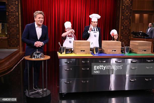 Chef Gordon Ramsay Kid Chef Nate host Jimmy Fallon and Kid Chef Amaya during the Masterchef Junior CookOff on November 20 2015