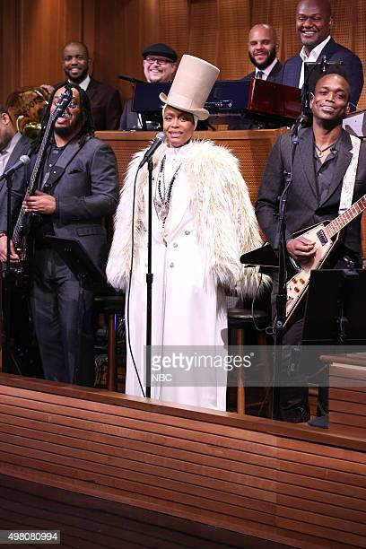 Singersongwriter Erykah Badu sits in with The Roots on November 20 2015
