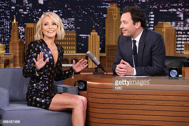 Talk show host Kelly Ripa during an interview with host Jimmy Fallon on November 23 2015