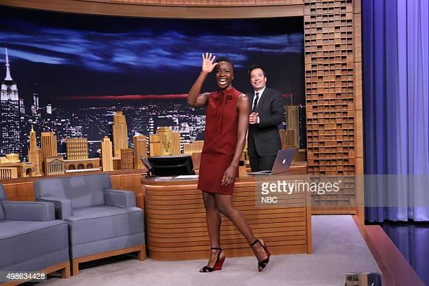 Actress Danai Gurira during an interview with host Jimmy Fallon on November 24 2015