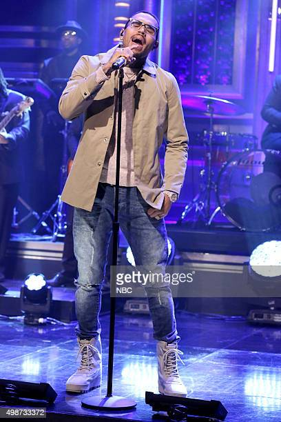 Musical guest Chris Brown performs on November 25 2015