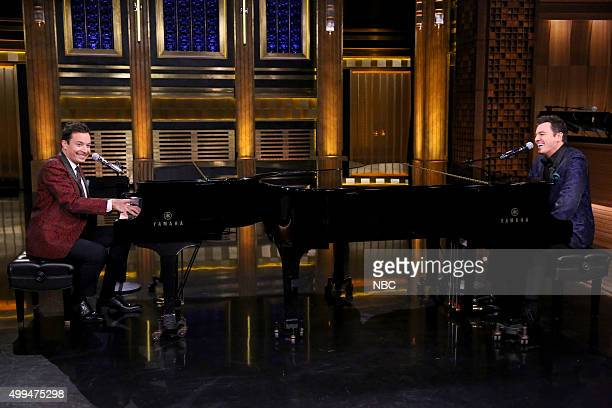 Host Jimmy Fallon and actor Seth MacFarlane as 'Yahoo Answers Lounge Singers' on December 1 2015