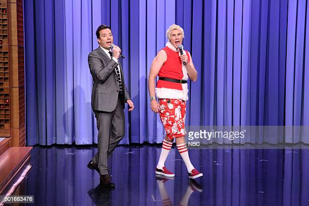 Host Jimmy Fallon and actor Will Ferrell sing on December 16 2015