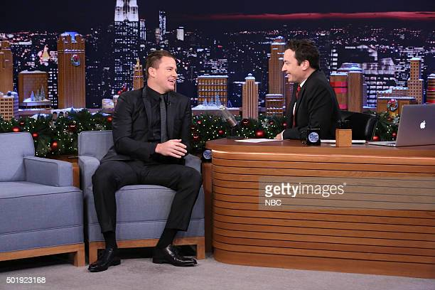 Actor Channing Tatum during an interview with host Jimmy Fallon on December 18 2015