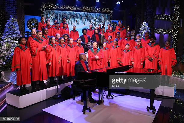 Host Jimmy Fallon and The Roots perform with the Young People's Chorus of New York City on December 18 2015