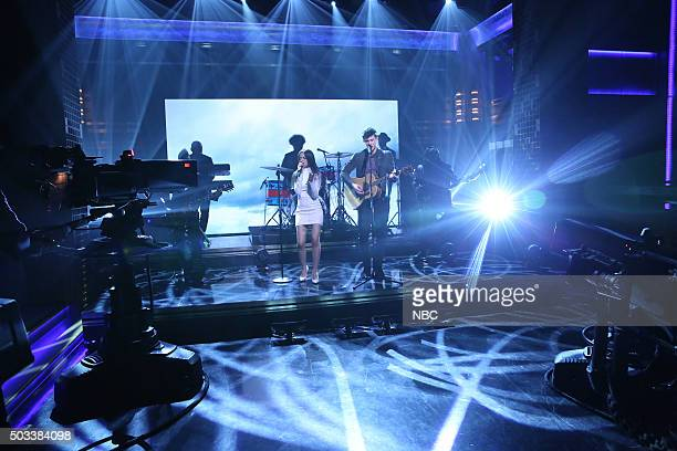 Musical guests Camila Cabello and Shawn Mendes perform with The Roots on January 4 2016