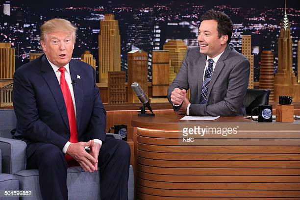 Presidential candidate Donald Trump during an interview with host Jimmy Fallon on January 11 2016