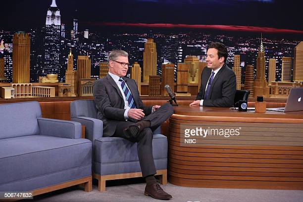 Sportscaster Dan Patrick during an interview with host Jimmy Fallon on January 25 2016