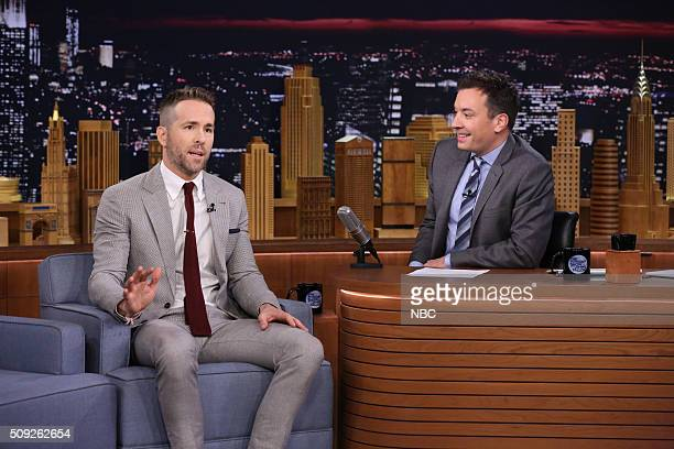 Actor Ryan Reynolds during an interview with host Jimmy Fallon on February 9 2016