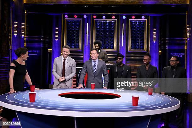 "Actress Katie Holmes actor Ryan Reynolds host Jimmy Fallon Tariq ""Black Thought"" Trotter Kirk ""Captain Kirk"" Douglas and Mark Kelley play Musical..."