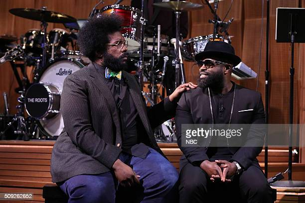 """Ahmir 'Questlove' Thompson and Tariq """"Black Thought"""" Trotter reenact a scene from 'The Bachelor' on February 9 2016"""