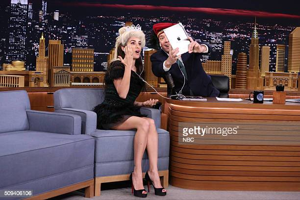 Actress Penélope Cruz during an interview with host Jimmy Fallon on February 10 2016