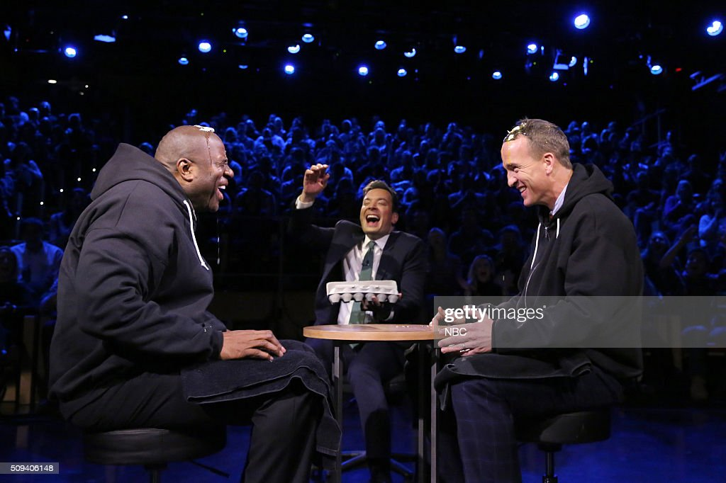 Basketball player Magic Johnson, host Jimmy Fallon, and football quarterback Peyton Manning play Egg Russian Roulette on February 10, 2016 --