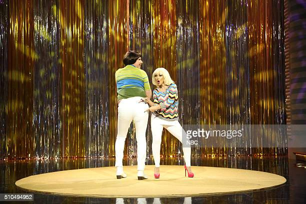 Actor Will Ferrell and singer Christina Aguilera during the Tight Pants sketch on February 15 2016