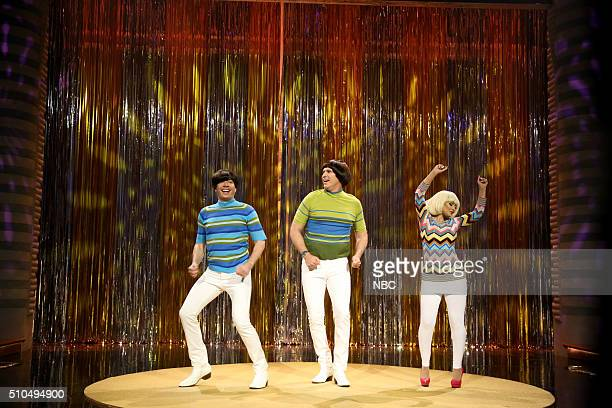 Host Jimmy Fallon actor Will Ferrell and singer Christina Aguilera during the Tight Pants sketch on February 15 2016