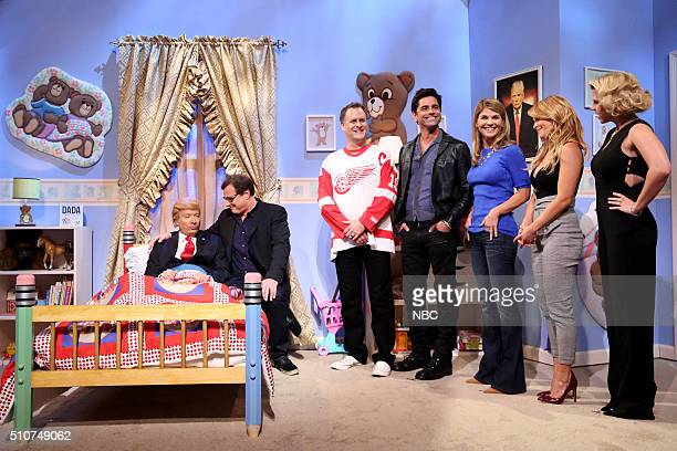 Host Jimmy Fallon as Donald Trump Bob Saget as Danny Tanner Dave Coulier as Joey Gladstone John Stamos as Jesse Katsopolis Lori Loughlin as Rebecca...