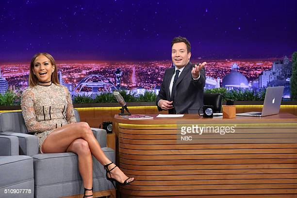 Actress Jennifer Lopez during an interview with host Jimmy Fallon on February 17 2016
