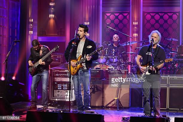 Oteil Burbridge John Mayer Bill Kreutzmann and Bob Weir of musical guest Dead and Company perform on February 18 2016