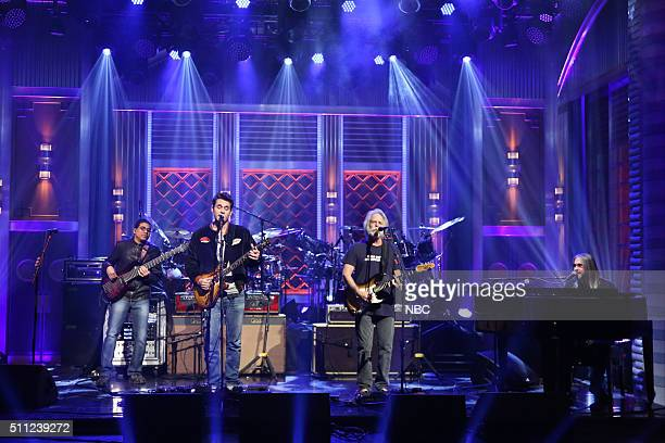 Oteil Burbridge John Mayer Bob Weir and Jeff Chimenti of musical guest Dead and Company perform on February 18 2016