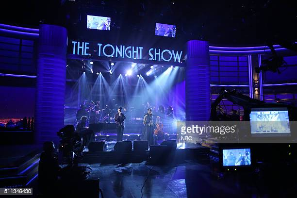 Musical guest The Weeknd performs with Ms Lauryn Hill on February 19 2016