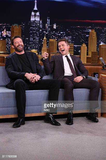 Actors Hugh Jackman and Taron Egerton during an interview with host Jimmy Fallon on February 22 2016