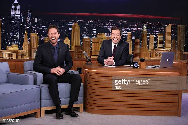 Actor Gerard Butler during an interview with host Jimmy Fallon on February 25 2016