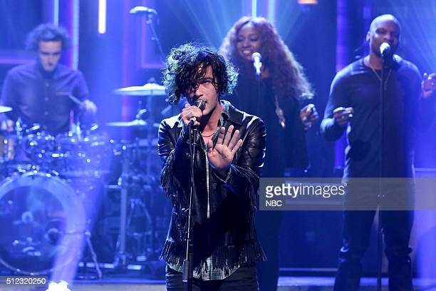 Matthew Healy of musical guest The 1975 perform on February 25 2016
