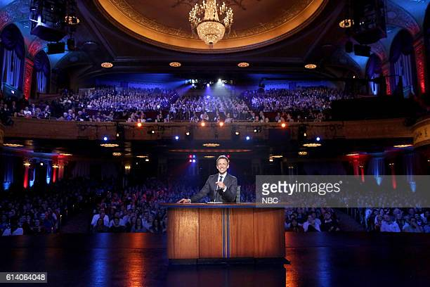 Host Seth Meyers moderates a 'Late Night Presidential Debate' on October 11 2016