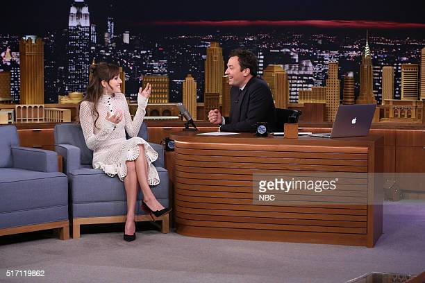 Actress Allison Williams during an interview with host Jimmy Fallon on March 23 2016
