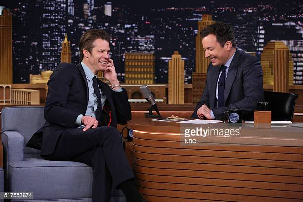 Actor Timothy Olyphant during an interview with host Jimmy Fallon on March 25 2016