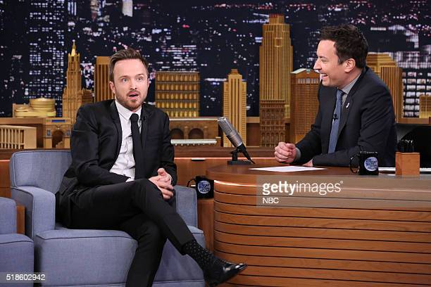 Actor Aaron Paul during an interview with host Jimmy Fallon on April 1 216