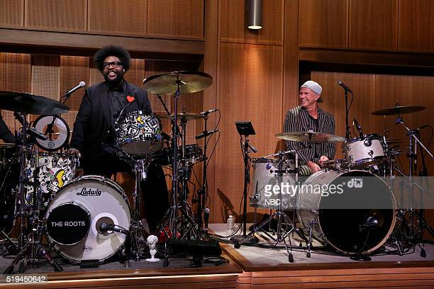 Drummers Ahmir 'Questlove' Thompson and Chad Smith on April 6 2016