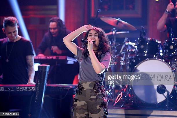 Musical guest Alessia Cara performs with The Roots on April 6 2016