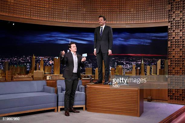 Actor Jonathan Groff during an interview with host Jimmy Fallon on April 7 2016
