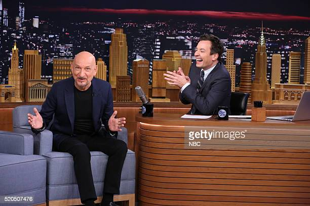 Actor Sir Ben Kingsley during an interview with host Jimmy Fallon on April 11 2016