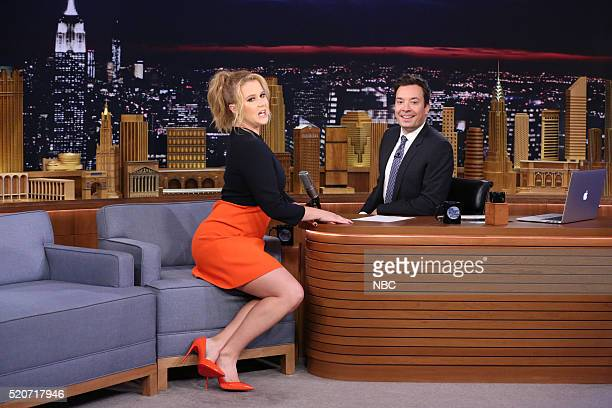Comedian Amy Schumer during an interview with host Jimmy Fallon on April 12 2016