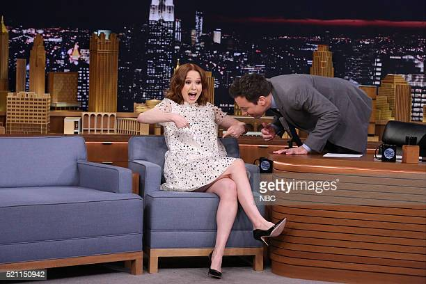 Episode 0454 -- Pictured: Actress Ellie Kemper during an interview with host Jimmy Fallon on April 13, 2016 --
