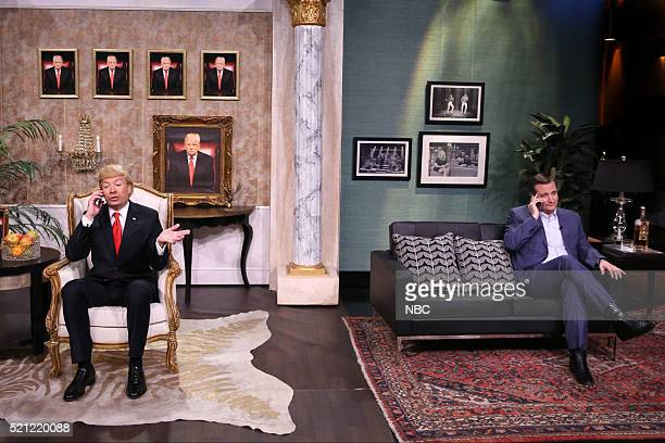 Host Jimmy Fallon as Donald Trump and Senator Ted Cruz during a sketch on April 14 2016