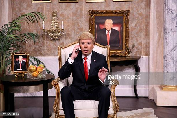 Host Jimmy Fallon as Donald Trump during a sketch on April 14 2016