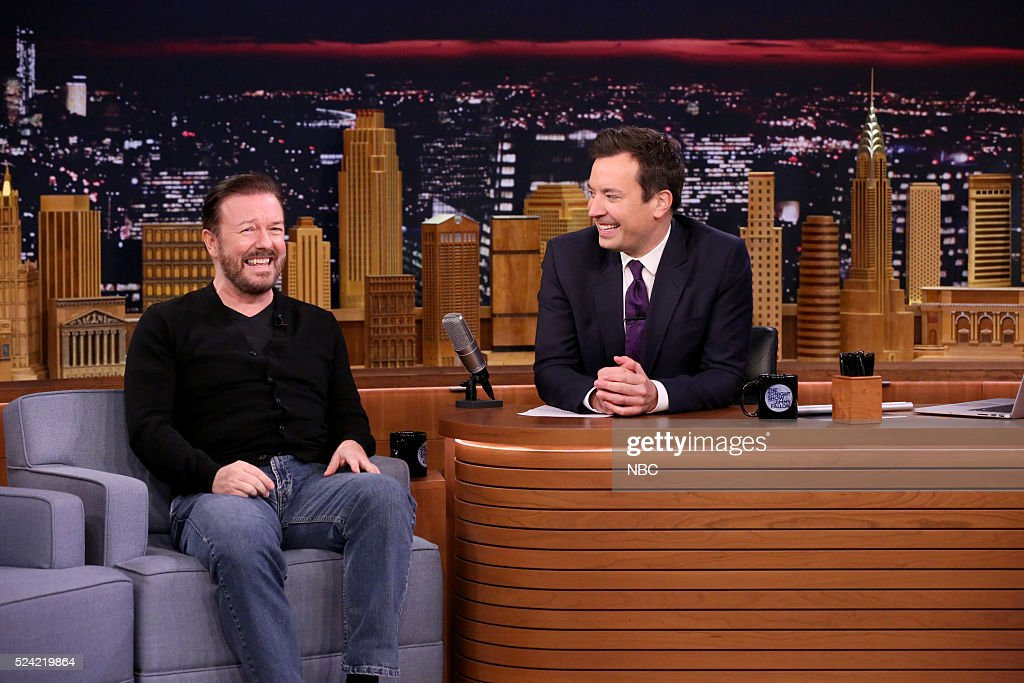 Actor Ricky Gervais during an interview with host Jimmy Fallon on April 25, 2016 --