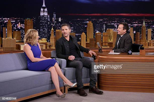 Episode 0458 -- Pictured: Comedian Chelsea Handler and actor Eric Bana during an interview with host Jimmy Fallon on April 26, 2016 --