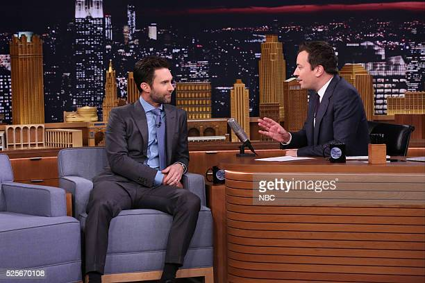 Singersongwriter Adam Levine during an interview with host Jimmy Fallon on April 28 2016