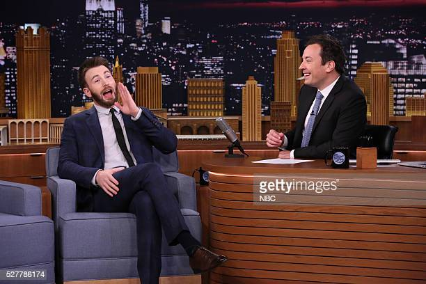 Actor Chris Evans during an interview with host Jimmy Fallon on May 3 2016