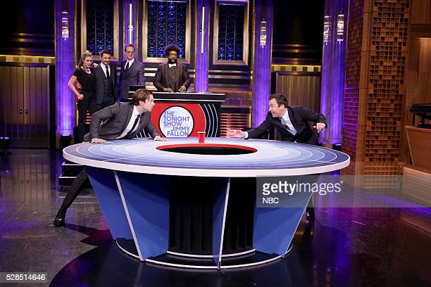 Actress Elizabeth Olsen actor Jeremy Renner actor Sebastian Stan actor Paul Bettany DJ Ahmir 'Questlove' Thompson and host Jimmy Fallon play Musical...