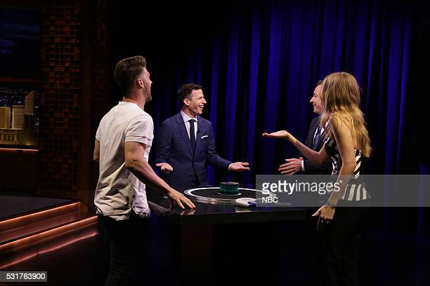 Baseball player Bryce Harper Actor Andy Samberg model Gigi Hadid and host Jimmy Fallon play Catchphrase on May 16 2016