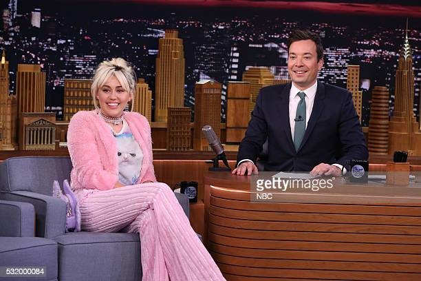 Singer Miley Cyrus during an interview with host Jimmy Fallon on May 17 2016