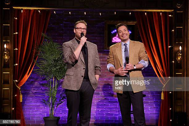 Actor Seth Rogen and host Jimmy Fallon perform Kid StandUp on May 19 2016