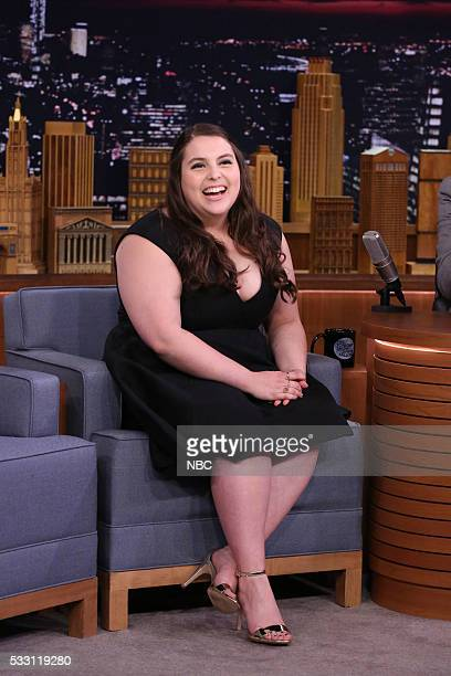 Actress Beanie Feldstein during an interview with host Jimmy Fallon on May 20 2016